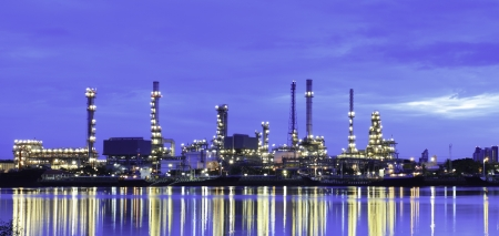 Refinery plant area at twilight Panorama photo