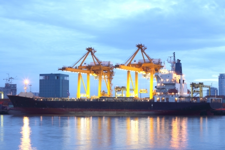 Containers loading at sea trading port