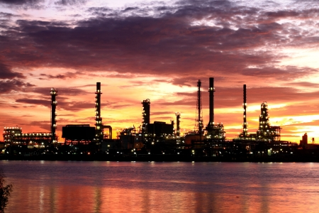globalwarming: Oil Refinery plant area at twilight