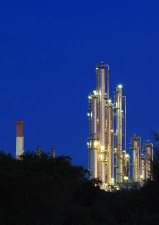 Oil Refinery plant area at twilight photo