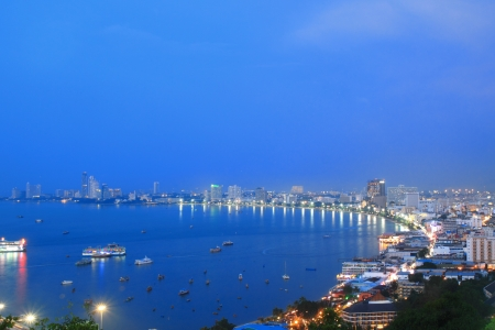 Pattaya city bird eye view at twilight photo