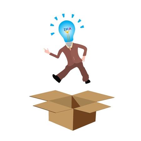 out think: Piense fuera de la caja o el pensamiento fuera de la caja concepto