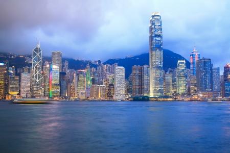 Stad bij schemering goed zicht op Hong Kong