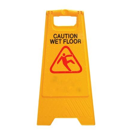 wet floor: Sign advising caution on wet floor isolated on white Stock Photo
