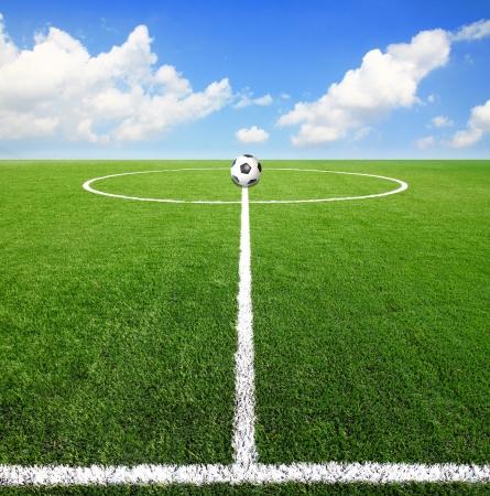 football match lawns: Soccer football field stadium  Stock Photo