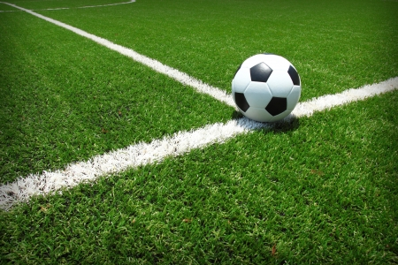 football match lawns: Soccer football field stadium grass line ball background texture