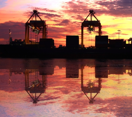 marine industry: container cargo shipping at morning twilight
