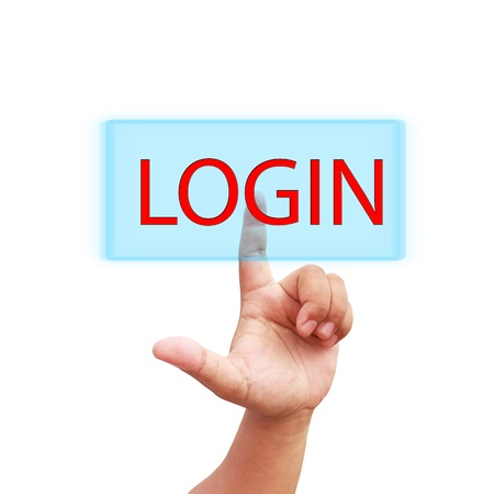 Hand press on login icon  photo