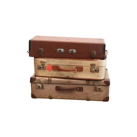 白い背景の上にヴィンテージのスーツケース 写真素材