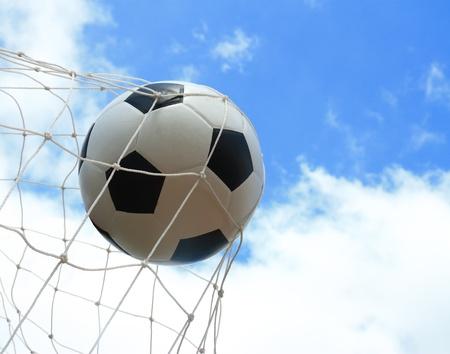 soccer ball in goal Stock Photo - 19972329