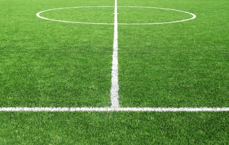 Voetbal voetbalveld stadion gras lijn Stockfoto