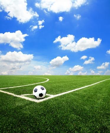Voetbal voetbalveld stadion gras lijn bal achtergrond textuur
