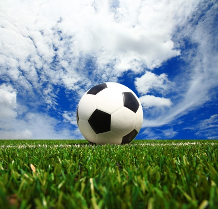 Soccer Football on the Green Grass Texture in Soccer Field with Sky.  Stock Photo - 20450098
