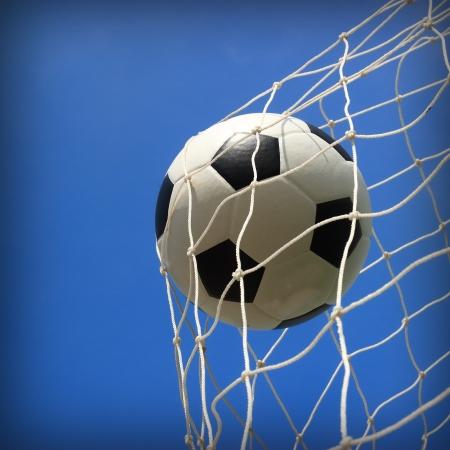soccer ball in net  Standard-Bild