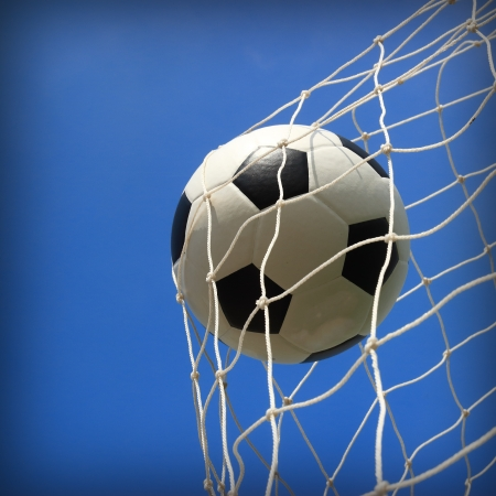 soccer ball in net  photo
