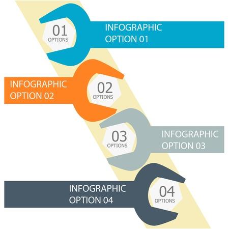 ワークフローのレイアウト、図、番号のオプション、web デザインのインフォ グラフィック オプション バナー ベクトル イラストを使用することができます。