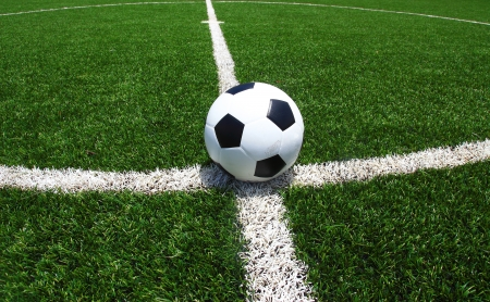 grass field: soccer ball on green grass