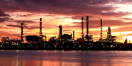 Oil Refinery plant area morning photo