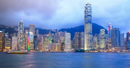 夜、Hong Kong 中国ビクトリア ・ ハーバー