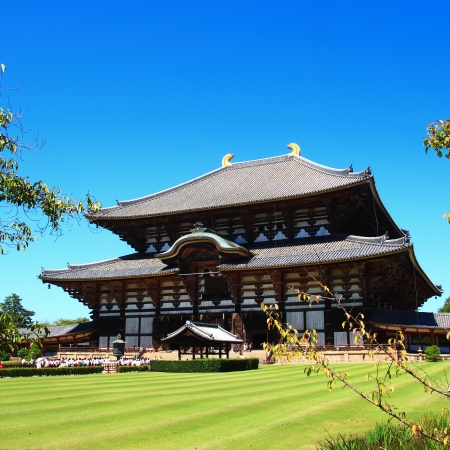 unesco world cultural heritage: Exterior of Todaiji, the worlds largest wooden building and a UNESCO World Heritage Site in Nara, Japan.