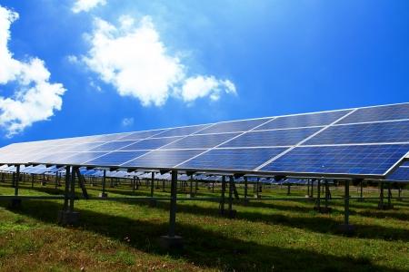 solarpanel: modern Solar Panels of blue sky Stock Photo