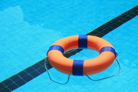 floatable: swimming pool with floatable toys in the water