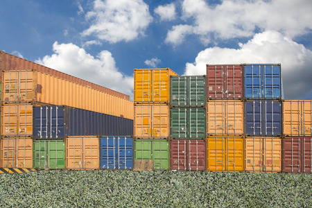 Stacked cargo containers in storage area of freight sea port  Stock Photo - 26006828