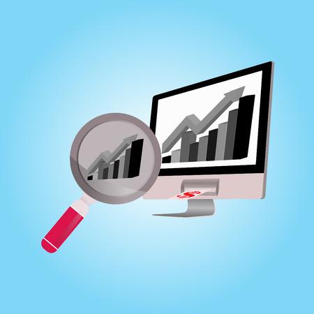 Business grafiek en vergrootglas Stock Illustratie