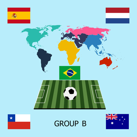 soccer balls with group B teams Football Brazil 2014 Vector