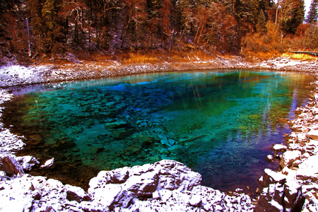 Nature landscape scenery view of a scenic area in Jiuzaigou