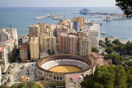malaga: Malaga Costa del Sol Spain. View over bullring