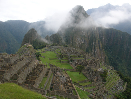 aerial view of the inca city of machu pichu
