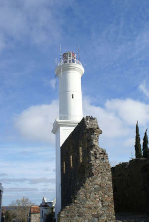 The lighthouse of Colonia del Sacramento and the old fortress wall