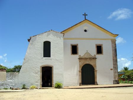 A colonial church in cabo Sao Agostino     Stock Photo