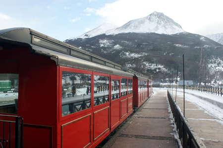 fuego: The vintage train of Tierra del Fuego in Argentina Stock Photo