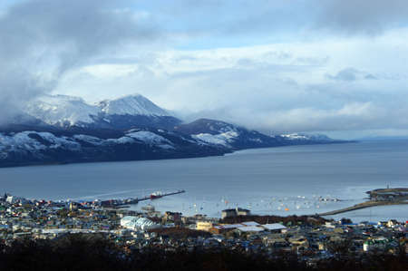 Aerial view of the city of Ushuaia and the Beagle channel Stock Photo