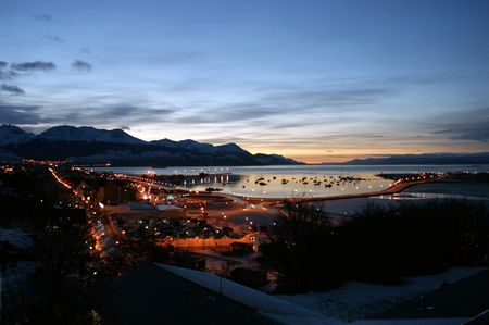 Beautiful awakening in the winter of Ushuaia