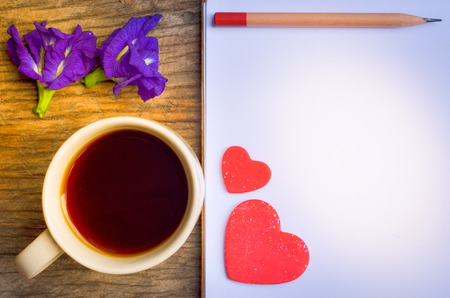 Coffee Time in morning,Valentines Day,colorful hearts Stock Photo