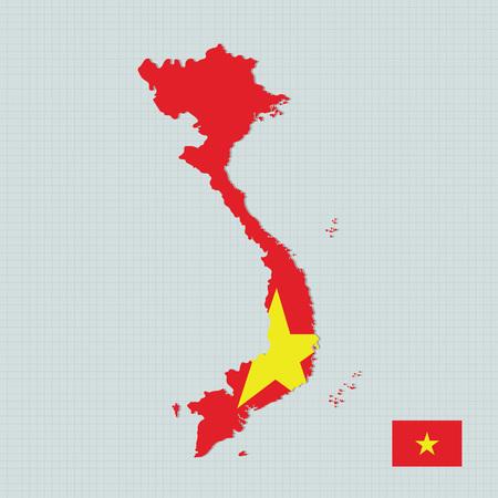 Vietnam map,flag Illustration