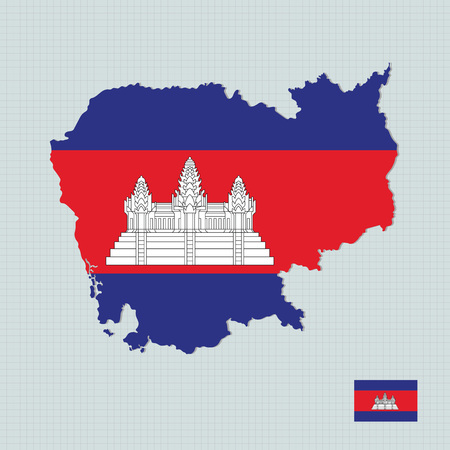 Cambodia map,flag Vettoriali