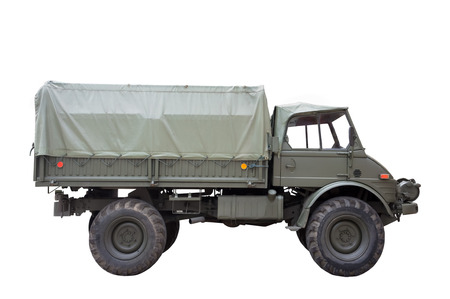 Unimog military truck isolate from white