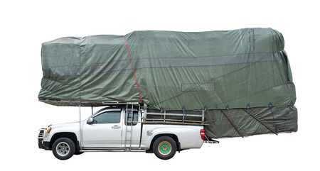 overloading: truck overloaded isolated white background