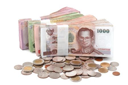 Thai baht money isolated white background photo