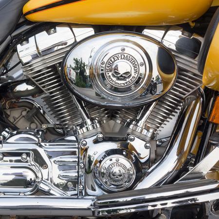 twin engine: Harley davidson motorcycle engine closeup