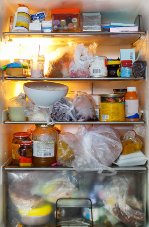 refrigerator with food: dirty and unhealthy food refrigerator