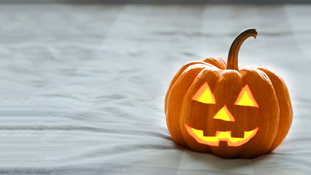 jack o lantern: halloween pumpkin on white dull