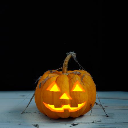 jack o  lantern: halloween pumpkin  in dark scene