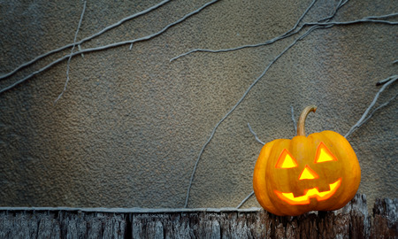 jack o lantern: halloween pumpkin  in dark wall scene