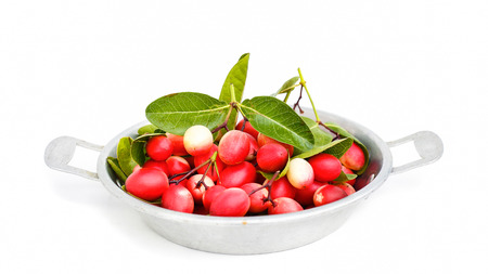 crimson colour: Bengal Currants isolated from white background