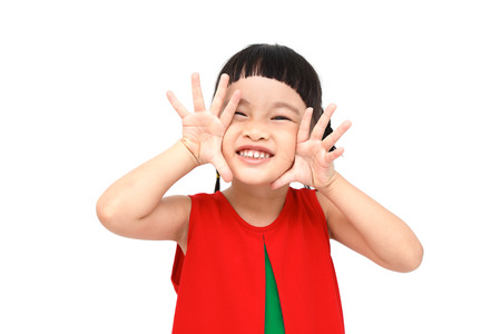 shouting girl: shouting girl wear red christmas dress